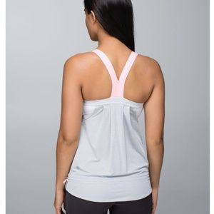 Lululemon Rest Less Gray Bleached Coral Tank Top